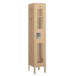 "Salsbury Industries 71152TN-A 12"" Single Tier Vented, 1 Wide x 5 Feet High x 12 Inches Deep, Assembled Metal Locker, Tan"