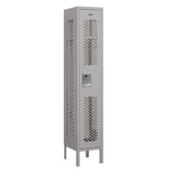 """Salsbury Industries 71152GY-A 12"""" Single Tier Vented, 1 Wide x 5 Feet High x 12 Inches Deep, Assembled Metal Locker, Gray"""