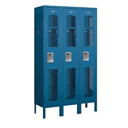 "Salsbury Industries 71352BL-A 12"" Single Tier Vented, 3 Wide x 5 Feet High x 12 Inches Deep, Assembled Metal Locker, Blue"