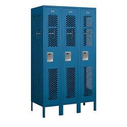 "Salsbury Industries 71358BL-A 12"" Single Tier Vented, 3 Wide x 5 Feet High x 18 Inches Deep, Assembled Metal Locker, Blue"