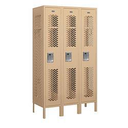 "Salsbury Industries 71355TN-A 12"" Single Tier Vented, 3 Wide x 5 Feet High x 15 Inches Deep, Assembled Metal Locker, Tan"