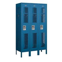 "Salsbury Industries 71355BL-A 12"" Single Tier Vented, 3 Wide x 5 Feet High x 15 Inches Deep, Assembled Metal Locker, Blue"