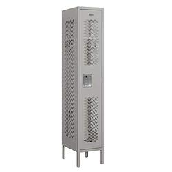 """Salsbury Industries 71155GY-A 12"""" Single Tier Vented, 1 Wide x 5 Feet High x 15 Inches Deep, Assembled Metal Locker, Gray"""
