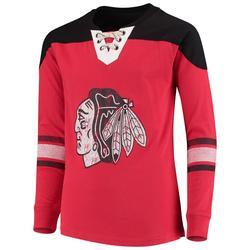 """Chicago Blackhawks Youth Red/Black Perennial Hockey Lace-Up Crew Sweatshirt"""