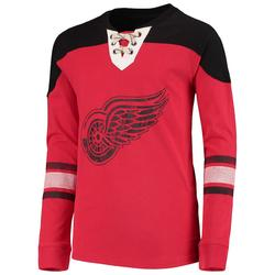 """""""Detroit Red Wings Youth Red/Black Perennial Hockey Lace-Up Crew Sweatshirt"""""""