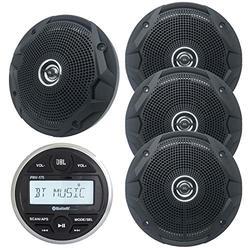"Gauge Style Marine Digital Media Bluetooth Receiver Bundle Combo with 2 Pairs (Qty 4) of 6.5"" 150 Watts Peak Power Marine Black Dual Cone Speakers"