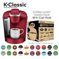 Keurig K-Classic Coffee Maker, Single Serve K-Cup Pod Coffee Brewer, Rhubarb and Keurig Coffee Lovers' Collection K-Cup Pods, 40 Count
