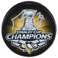 Marc-Andre Fleury Pittsburgh Penguins Autographed 2017 Stanley Cup Champions Logo Hockey Puck