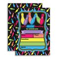 """Glow Bowling Birthday Party Invitations for Cosmic and Glow in the Dark Bowling Parties, 20 5""""x7"""" Fill In Cards with Twenty White Envelopes by AmandaCreation"""