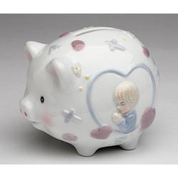 "Cosmos Gifts 2035 Fine Porcelain Inspirational Praying Boy Piggy Bank, 4.5"" L"