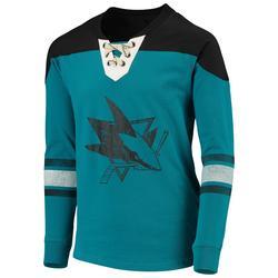 """San Jose Sharks Youth Teal/Black Perennial Hockey Crew Sweatshirt"""