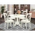 East West Furniture 5-Piece Dining Room Set Included a Round Modern Dining Table and 4 Dining Chairs - Faux Leather Kitchen Chairs Seat & X-back - Linen White Finish