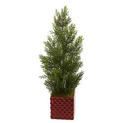 Nearly Natural 25-in. Mini Cedar Pine Artificial Red Planter (Indoor/Outdoor) Silk Trees Green