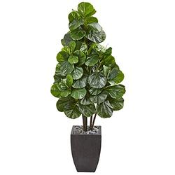 Nearly Natural 63-in. Fiddle Leaf Fig Artificial Black Planter Silk Trees Green