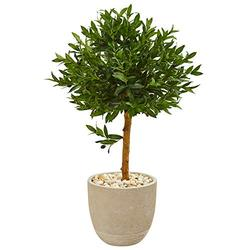 Nearly Natural 40-in. Olive Topiary Artificial Sand Stone Planter UV Resistant (Indoor/Outdoor) Silk Trees Green