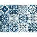 Sirface Bleu Stickers pour carrelage marocain – Ensemble de stickers pour carrelage pour cuisine et salle de bain – Lot de 24 – Différentes tailles disponibles, bleu, 8x8 inches | 20x20 cm