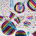 Creative Converting Rainbow Foil Birthday Paper/Plastic Party Supplies Kit in Blue/Indigo   Wayfair DTC3940E2A