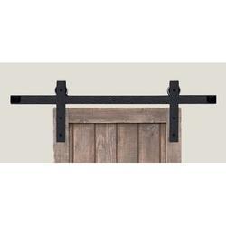 "Acorn Square End Rolling Standard Single Track Barn Door Hardware Kit in Black, Size 96""H X 4""W X 4""D | Wayfair BH3BI-8"