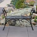August Grove® Arona Wrought Iron Garden BenchMetal in Black, Size 28.0 H x 41.0 W x 16.5 D in | Wayfair AGGR5228 39304439