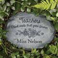 August Grove® Wolfgramm Teacher w/ Flowers Personalized Memorial Stone Resin/Plastic in Gray, Size 6.0 H x 11.0 W x 3.0 D in | Wayfair