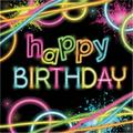 """Creative Converting Glow Party Birthday 6.5""""s Paper Disposable NapkinsPaper in Black/Pink/Yellow 