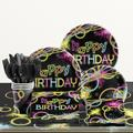 """Creative Converting Glow Party Birthday 6.5""""s Paper Disposable Napkins Paper in Black/Pink/Yellow   Wayfair DTC318130NAP"""