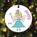 The Holiday Aisle® Personalized Blond Princess Holiday Shaped Ornament Ceramic/Porcelain in White, Size 3.0 H x 3.0 W x 0.25 D in | Wayfair
