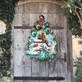 The Holiday Aisle® Lighthouse Tree Hanging Figurine Wood Door Hanger Wall Decor Wood in Brown/Green, Size 24.0 H x 18.0 W x 0.25 D in | Wayfair