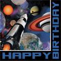 "Creative Converting Space Blast Birthday 6.5""s Paper Disposable NapkinsPaper in Black/Blue | Wayfair DTC663533NAP"