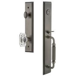 Grandeur Handleset w/ Single Cylinder Deadbolt and Baguette Crystal Door Knob and Rosette in Gray, Size 19.0 H x 3.0 W x 3.0 D in   Wayfair 844567