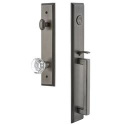 Grandeur Handleset w/ Single Cylinder Deadbolt and Chambord Door Knob and Rosette in Gray, Size 19.0 H x 3.0 W x 3.0 D in | Wayfair 844863