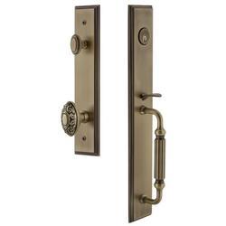 Grandeur Handleset w/ Single Cylinder Deadbolt and Grande Victorian Door Knob and Rosette in Yellow, Size 19.0 H x 3.0 W x 3.0 D in | Wayfair