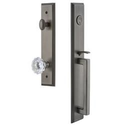 Grandeur Handleset w/ Single Cylinder Deadbolt and Fontainebleau Door Knob and Rosette in Gray, Size 19.0 H x 3.0 W x 3.0 D in   Wayfair 845090