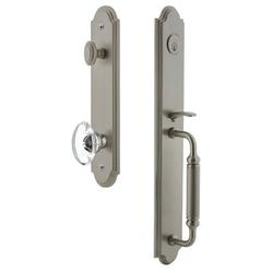 Grandeur Handleset w/ Single Cylinder Deadbolt and Provence Door Knob and Rosette in Gray, Size 19.0 H x 3.0 W x 3.0 D in   Wayfair 842070
