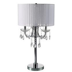 "House of Hampton® Euston 29.5"" Metallic Table Lamp Metal/Fabric in White, Size 29.5 H x 16.0 W x 16.0 D in   Wayfair HOHM7588 42689014"