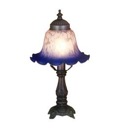 Meyda Tiffany Victorian Petal Pink & Blue Bell Shade Mini Table Lamp in Mahogany Bronze Glass/Metal in Blue/Gray, Size 12.5 H x 6.5 W x 6.5 D in