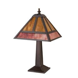 """Meyda Tiffany T-Mission 14"""" Table Lamp Glass/Metal in Brown/Gray, Size 14.0 H x 9.0 W x 9.0 D in 