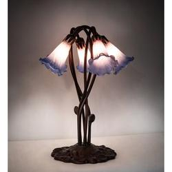 """Meyda Tiffany Pond Lily 16.5"""" Table Lamp in Pink/Blue, Size 16.5 H x 16.0 W x 16.0 D in   Wayfair 15856"""