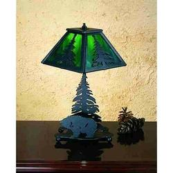 "Meyda Tiffany Lone Grizzly Bear 14"" Table Lamp in Green, Size 14.0 H x 7.0 W x 7.0 D in | Wayfair 28313"