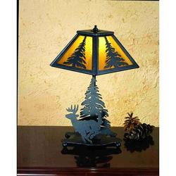 "Meyda Tiffany Lone Deer 14"" Table Lamp in Red, Size 14.0 H x 7.0 W x 7.0 D in | Wayfair 31405"