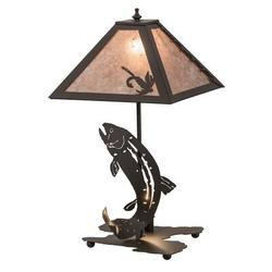 """Meyda Tiffany Leaping Trout 21.5"""" Table Lamp in Brown, Size 21.5 H x 16.5 W x 16.5 D in 