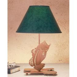 """Meyda Tiffany Leaping Bass 21.5"""" Table Lamp in Brown, Size 21.5 H x 14.0 W x 14.0 D in 