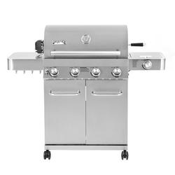 Monument Grills 4-Burner Propane Gas Grill w/ Side Burner Stainless Steel/Cast Iron in Gray, Size 45.7 H x 54.1 W x 22.5 D in   Wayfair 17842