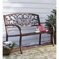 Plow & Hearth Blooming Iron Garden BenchMetal in Brown, Size 34.5 H x 50.0 W x 17.5 D in | Wayfair 37320