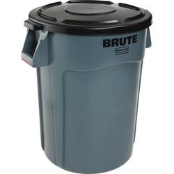 Rubbermaid Commercial Products Rubbermaid Commercial Vented Round Brute Container Receptacle 44 Gallon Trash Can Plastic in Gray | Wayfair