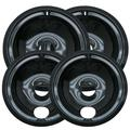 Range Kleen 4 Piece Cooktop Style B Plug-in Electric Range Drip Pan Set in Black, Size 1.75 H x 10.0 W x 10.0 D in | Wayfair P119204XN