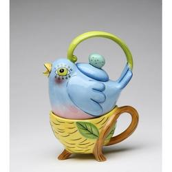 August Grove® Gritton Bird Tea For One 0.28 -qt. Porcelain China Teapot Set Porcelain China/Ceramic in Blue/Yellow, Size 5.5 H x 3.25 W x 5.125 D in