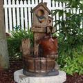 August Grove® Bengal Fiberglass Garden Fountain Fiberglass/Resin in Brown, Size 26.0 H x 12.5 W x 11.0 D in | Wayfair
