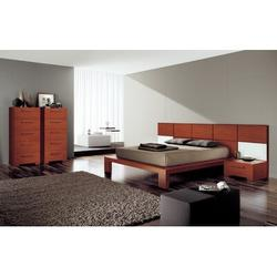 YumanMod Wynd Solid Wood Platform Bed Wood in Brown/Red, Size 41.25 H x 75.5 W x 90.25 D in | Wayfair CR53-CONF1-QN