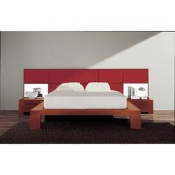 YumanMod Wynd Solid Wood Platform Bed Wood in Red, Size 41.25 H x 75.5 W x 90.25 D in   Wayfair CR53-CONF5-QN